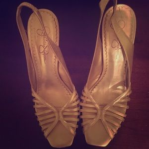 Jessica Simpson light gold heels size9.5 worn once